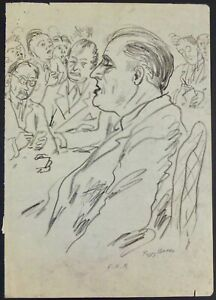 """Peggy Bacon Signed Pencil Drawing Portrait Of Franklin Delano Roosevelt """"F.D.R."""""""