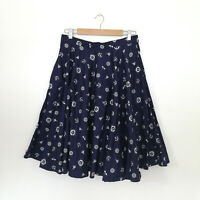 Nineteen 50 Size L Skirt Full Flared Navy Nautical Sailor Cotton Retro w Pockets