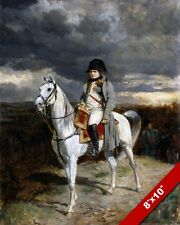 NAPOLEON BONAPARTE FRENCH ON HIS WHITE HORSE 1814 PAINTING ART REAL CANVAS PRINT