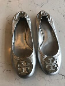 Tory Burch silver ballet slippers