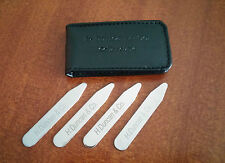 4 Pieces Elegant Stainless Steel Shirt Collar Stiffeners Stays + Travel Pouch