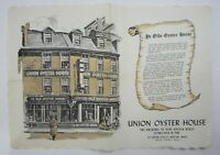 Vintage Union Oyster House Restaurant History Souvenir Placemat Boston MA 1960s