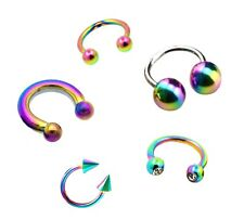RAINBOW HORSESHOE BAR 16g 14g Crystal Ear Nose Lip Septum Nipple Ring Piercing