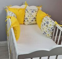 PILLOW BUMPER made from 6 cushions for cot/ cot  bed YELLOW GREY ELEPHANTS