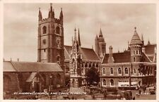 Plymouth, St. Andrew's Church and Cross, Bus, Cars, real photograph