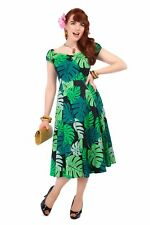 Collectif Vintage Green Palm Print Dolores Doll Dress Sz 8-22 1950s Flared 14