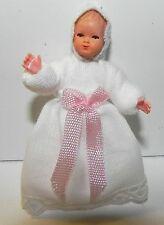 Dollhouse Miniature Baby Doll White Dress Caco German Dollhouse Shoppe 1:12