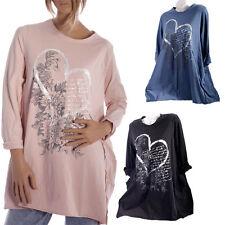 Taillenlang Damenblusen,-Tops & -Shirts im Tuniken-Stil mit Rundhals