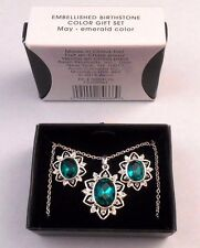 LOVELY AVON EMBELLISHED BIRTHSTONE COLOR GIFT SET FOR MAY EMERALD COLOR NOS 2013