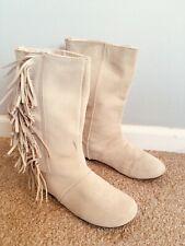 "GapKids Girls 1 Winter White Suede Riding Boots Fringe 11"" Tall cream Ivory GAP"