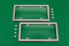 2 Universal UNBREAKABLE Clear License Plate Shield Covers + 2 Chrome Frames