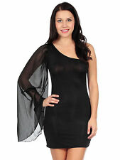 Sexy One Shoulder Long Mesh Angel Sleeve Summer Mini Dress Black