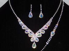 Bridal Silver W. AB Rhinestone 3PC Set Necklace, Bracelet and Drop Earrings