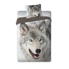 Wild ANIMALS The WOLF MONO Youth bedding Single Bed Duvet Cover Set 100% COTTON