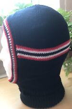 Men's Knitted Balaclava In Navy Blue DK With Red And White Stripes  Handmade