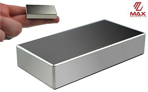 """Max Magnets Super Strong N52 Neodymium Large Block Magnet 2""""x1""""x3/8"""" Rare Earth"""