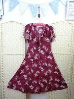 VINTAGE viscose batik floral boho/festival 40s style fit & flare tea dress S/M