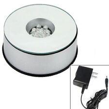 Rotating 7 LED Color Light Crystal Display Stand Base US EU