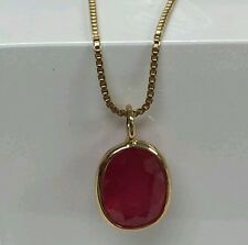 14k yellow gold pendant natural 9x7 ov 3.00ct tw known as wonders working ruby