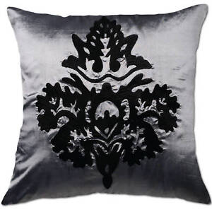 damask grey silver and black cushion covers