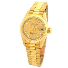 ROLEX Lady 18K Yellow Gold Diamond President Datejust Factory Diamond 69178