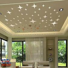 43pcs Stars Sky 3D Mirror Sticker Wall Room Removable Decal Decor Art Mural DIY