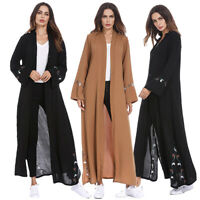 Abaya Women Open Front Kimono Cardigan Long Maxi Dress Muslim Kaftan Dubai Gowns