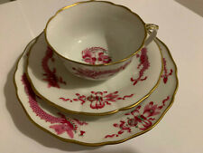 ⚔ Meissen Reicher Drache purpur Kaffeegedeck 3-tlg Tasse UT Teller rosa