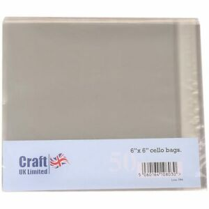 Craft UK 6in x 6in Cello Card Bags   50 pack