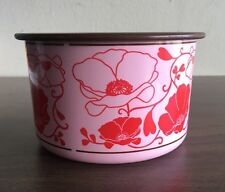 New- Tupperware One Touch Canister B - #2708 with Lid 24210 -Pink w/ Red Flowers