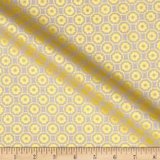 Pearly Fabric Fat Quarter Cotton Craft Quilting Yellow GEOMETRIC DAISY