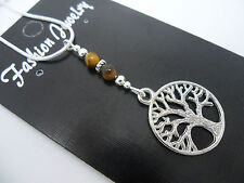 A LOVELY TIBETAN SILVER  TREE OF LIFE & TIGERS EYE  BEAD  NECKLACE . NEW.