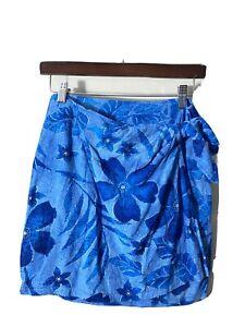 Jams World Women Wrap Skirt Lanikai Blue Floral Hawaiian Sarong Short Small Vtg