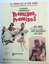 Sheet Music I'LL NEVER FALL IN LOVE AGAIN Promises Promises UA Publ. Bacharach