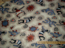 Kokopeli Indian Native American Southwest Fleece Fabric  by the Yard