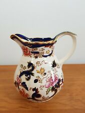 "MASONS IRONSTONE CHINA BLUE MANDALAY MILK JUG 5.75"" 14.5CM TALL CREAM VINTAGE"