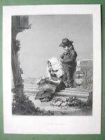 ITALIAN CHILDREN Offering Ruins Stone Capital - 120 Years Old Print Engraving