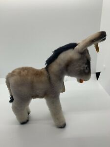 """Vintage Steiff """"Grissy"""" Donkey Standing 6"""" W/ All Tags"""