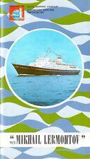 1970s MIKHAIL LERMONTOV Deck Plan Brochure w/ Color Interiors Brochure
