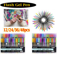 12/24/36/48 Piece Gel Pen Set Metallic Pastel Glitter Neon Painting Pens