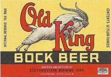 Old King Bock Beer Label, IRTP, Southwestern Brewing Corp., Oklahoma City, OK