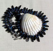 """Blaue Koralle & Schwarz Onyx Kristall Edelstein Statement Halskette """"Blueberry Punch"""""""