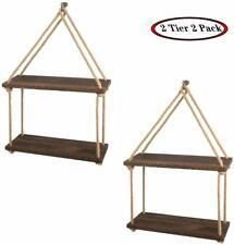 2 Tier Wall-Mounted Rustic Wood Shelves Hanging Shelves Floating Shelf 2 Sets