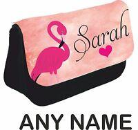Personalised girls ladies Flamingo Pencil Case make up bag school xmas Birthday