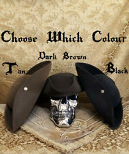 BLACK TRICORN HAT QUALITY STURDY AUTHENTIC PIRATE/HIGHWAY/COSPLAY/REENACTMENT