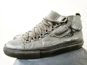 Balenciaga Arena Grey 42 8 Leather Trainers Shoes Sneakers High Top Designer