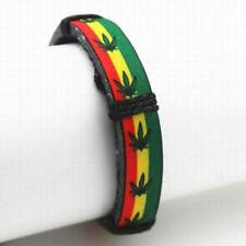 Ganja Cord Raggae Leaf Marijuana Charm Weed Bracelet Rasta Bangle