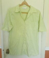 Denim & Co Lime Green Embroidered Button Down Shirt Blouse Plus size L