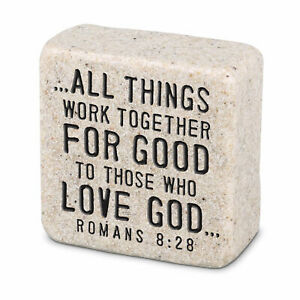 Believe All Things Work Together Scripture Block 2.25 x 2.25 Cast Stone Plaque