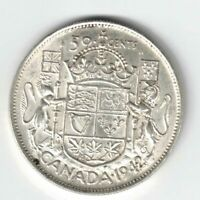 CANADA 1942 FIFTY CENTS HALF DOLLAR GEORGE VI CANADIAN SILVER COIN DIE CRACK